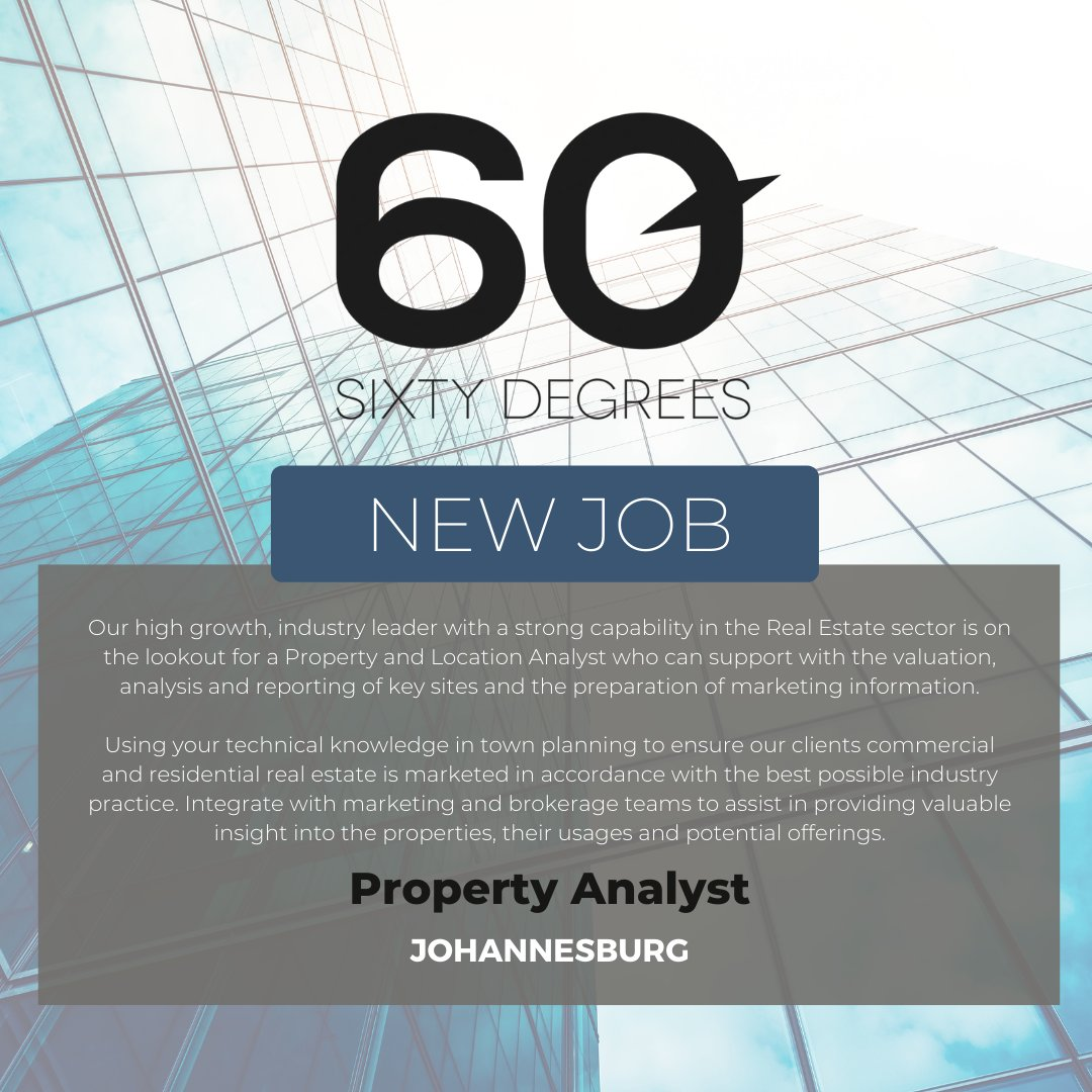 test Twitter Media - New #JobAlert - Property Analyst in Johannesburg  For more information & to apply, please click on the link below;  https://t.co/VVX2qKmgPb  #60Degrees #60DRecruiter #60Droles #Property https://t.co/We1x4tPhS9