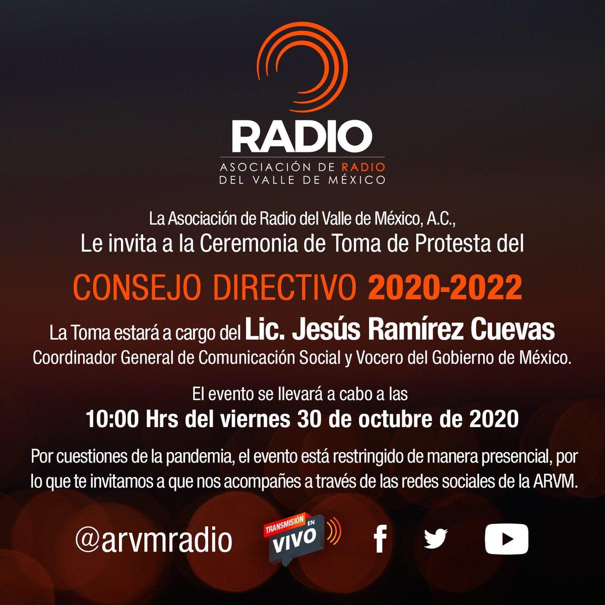 Hoy a las 10:00 horas transmitiremos en directo la toma de protesta del Consejo Directivo de la ARVM para el periodo 2020-2022.  Sigan la transmisión: https://t.co/UMbrOnVlkK https://t.co/bNxdYcTw5V