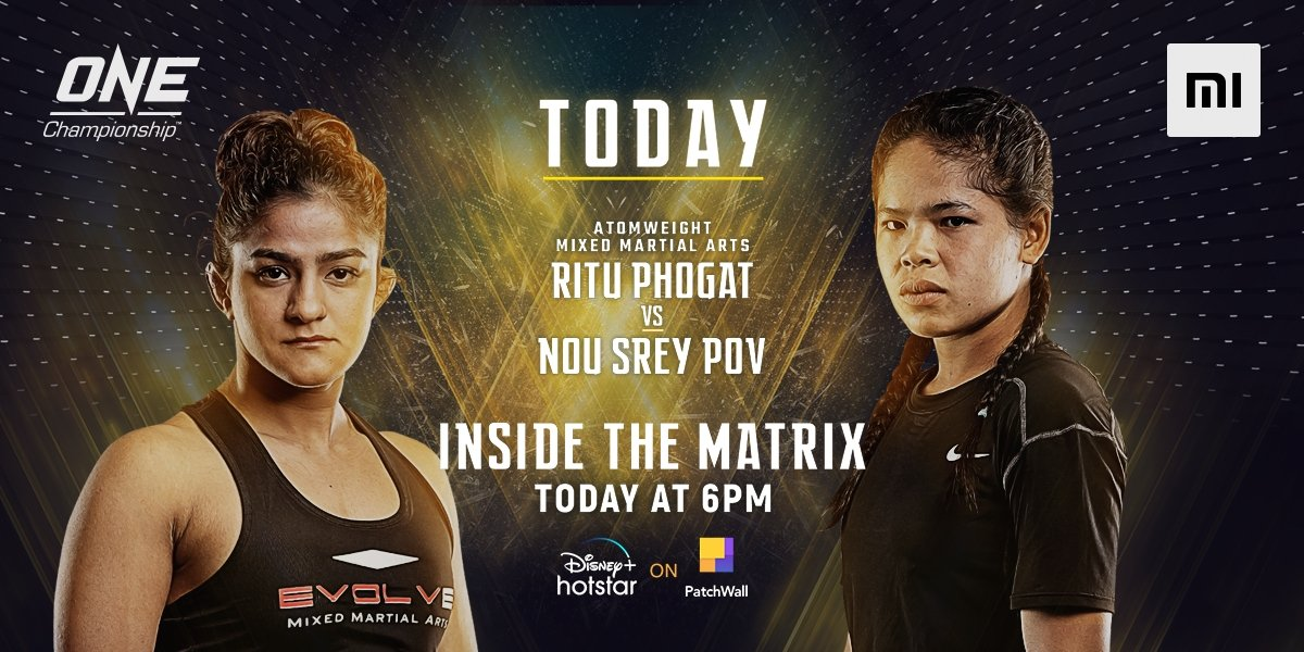 Ab dangal hoga. 🥊  The Indian🇮🇳 tigress, @PhogatRitu's fight. Go Ritu...💪💪  Mi fans, watch the @ONEChampionship live on @DisneyPlusHS on #PatchWall at 6PM.  Show your support with #MiForRituPhogat.  I ❤️ Mi