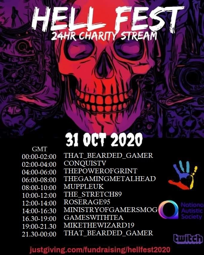 In just over 15 hours #hellfest2020 will be going live!! Come joins us on our journey to raise money for @Autism and share the love to some amazing streamers 🔥💯  #charitystream #twitch #halloween #hellfeststreaming #smallstreamersconnect #SupportSmallStreamers #ContentCreator https://t.co/i4r9sS22jl
