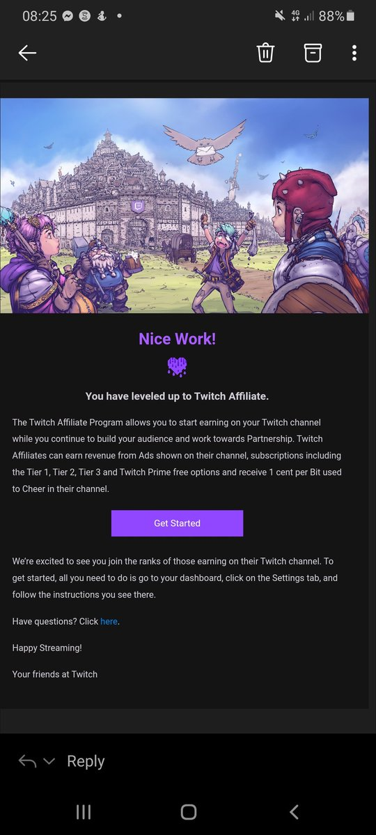 Woke up to the best email ever!  I have reached #twitchaffiliate! Thank you everyone for all your support! This is the best day ever! 😄 #smallstreamer #SmallStreamersConnect  #SupportSmallStreams  #SupportSmallStreamers #twitch @SmallStreamersR @rtsmallstreams https://t.co/pNLUAo8CJt