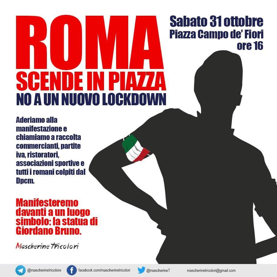 #MascherineTricolori  Manifestazione a Roma domani 31 ottobre Piazza Campo dei Fiori h.16 contro il nuovo #DPCM https://t.co/O6ktu9voND