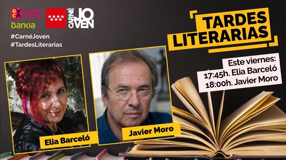 #TardesLiterarias 📚  Hoy charlamos con dos autores que no paran de atrapar nuevos lectores entre sus páginas:   👉 @elia_barcelo ⌚17:45 👉 @javiermoro123 ⌚18:00  🔴 ¡En #directo en nuestro IG! ➡ https://t.co/H672FGPxxO   #CarnéJovenMadrid https://t.co/C2YkYQczlA