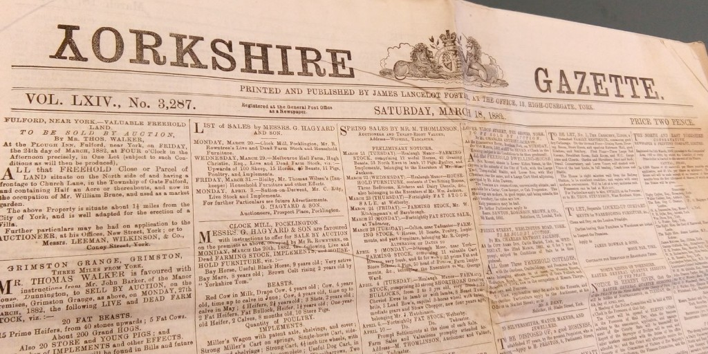 We love this quirky edition of the Yorkshire Gazette in 1882, and have to show it for week Y of #ArchiveZ. We hold a wide range of this and other historic #NorthYorkshire newspapers #ExploreYourArchive https://t.co/vpFFhwqJtg