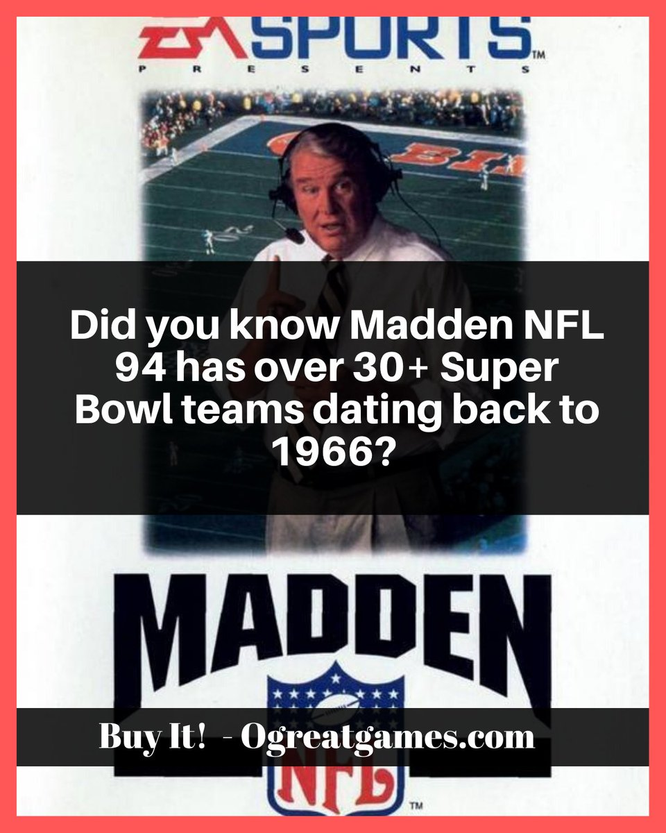Did you know Madden NFL 94 has over 30+ Super Bowl teams dating back to 1966? #videogaming #segagenesis #facts #game #retro https://t.co/XDtqY6fSgR