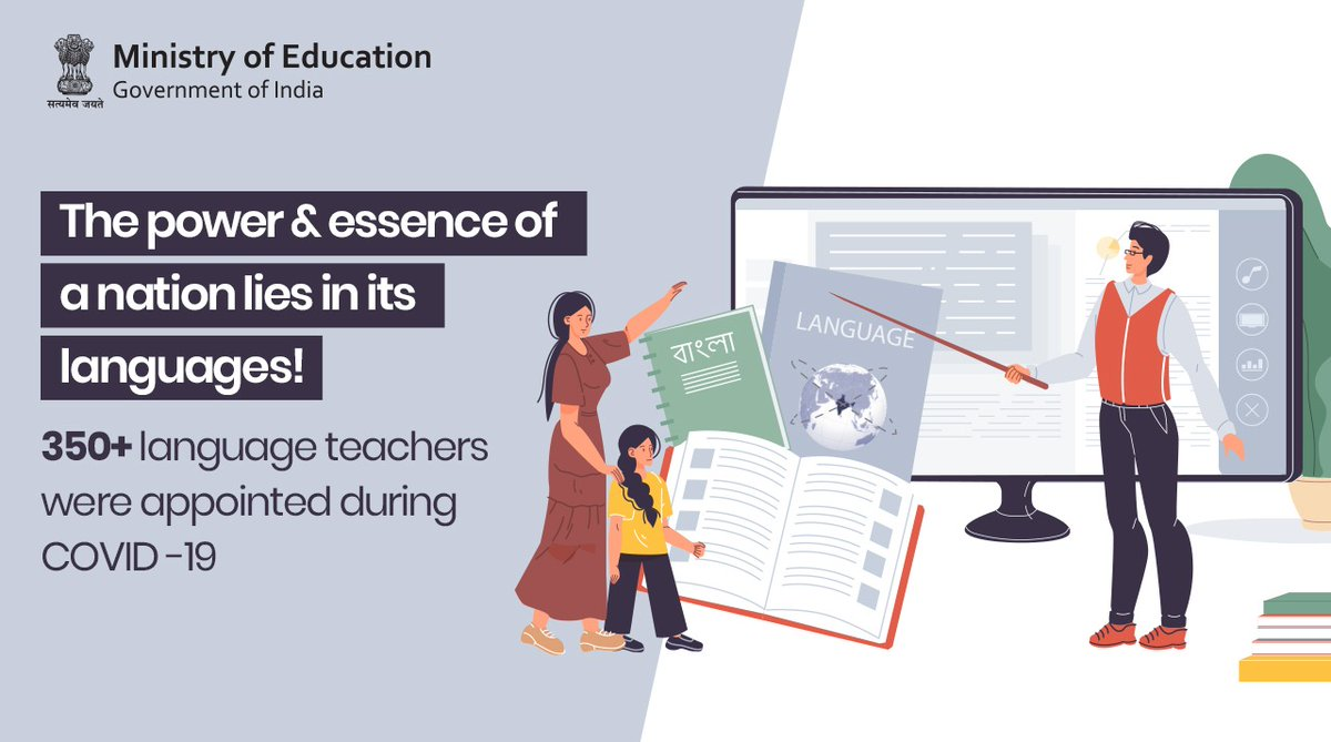 #NEP2020 aims to promote multilingualism and establish the power of language in teaching and learning.  With this is mind, a total of 353 'Language Teachers' were appointed during #COVID-19.  #NEPTransformingIndia https://t.co/8AGirRSak0