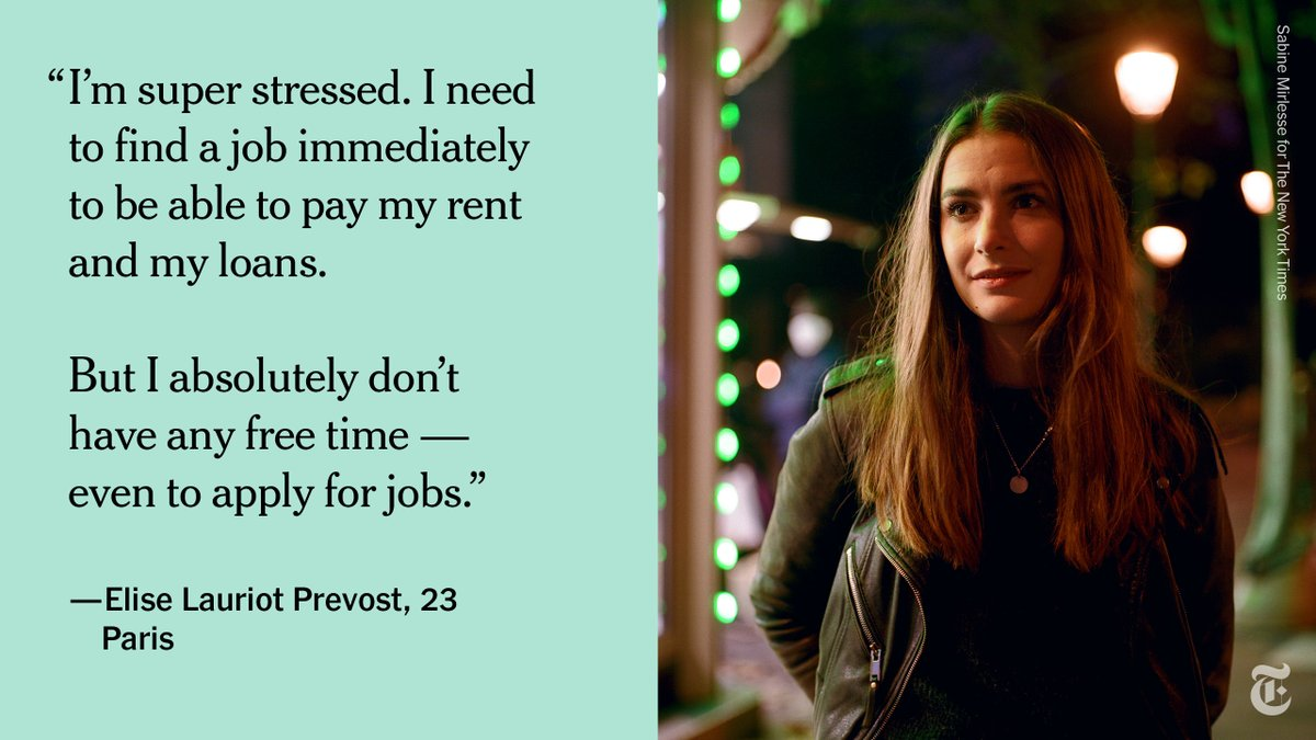 Even the lucky ones who can find jobs are struggling to make ends meet, working long hours for little pay. Internships and entry-level jobs, if they're available, often don't pay enough to live in places like Paris and repay student loans. https://t.co/xdr1jzJq5k https://t.co/1DGgPVEUxE