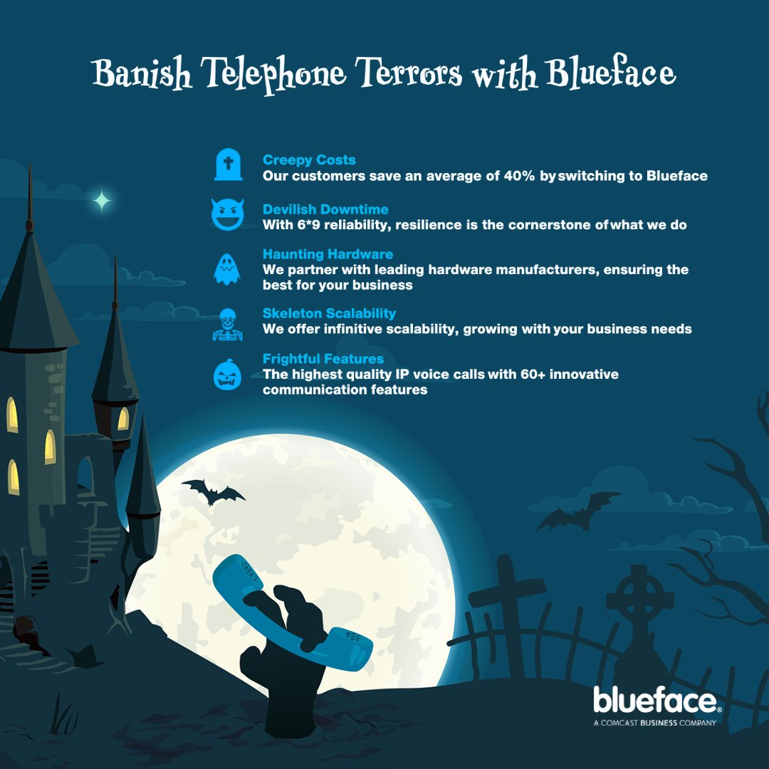 This Halloween, Blueface is committed to putting a stop to those petrifying phone system failures and chilling costs. Get in contact with one of our not so terrifying team and get your instant quote and package!  https://t.co/RGruptUFL1  #blueface #voipsolution #happyhalloween https://t.co/2k3Nq97ZOo