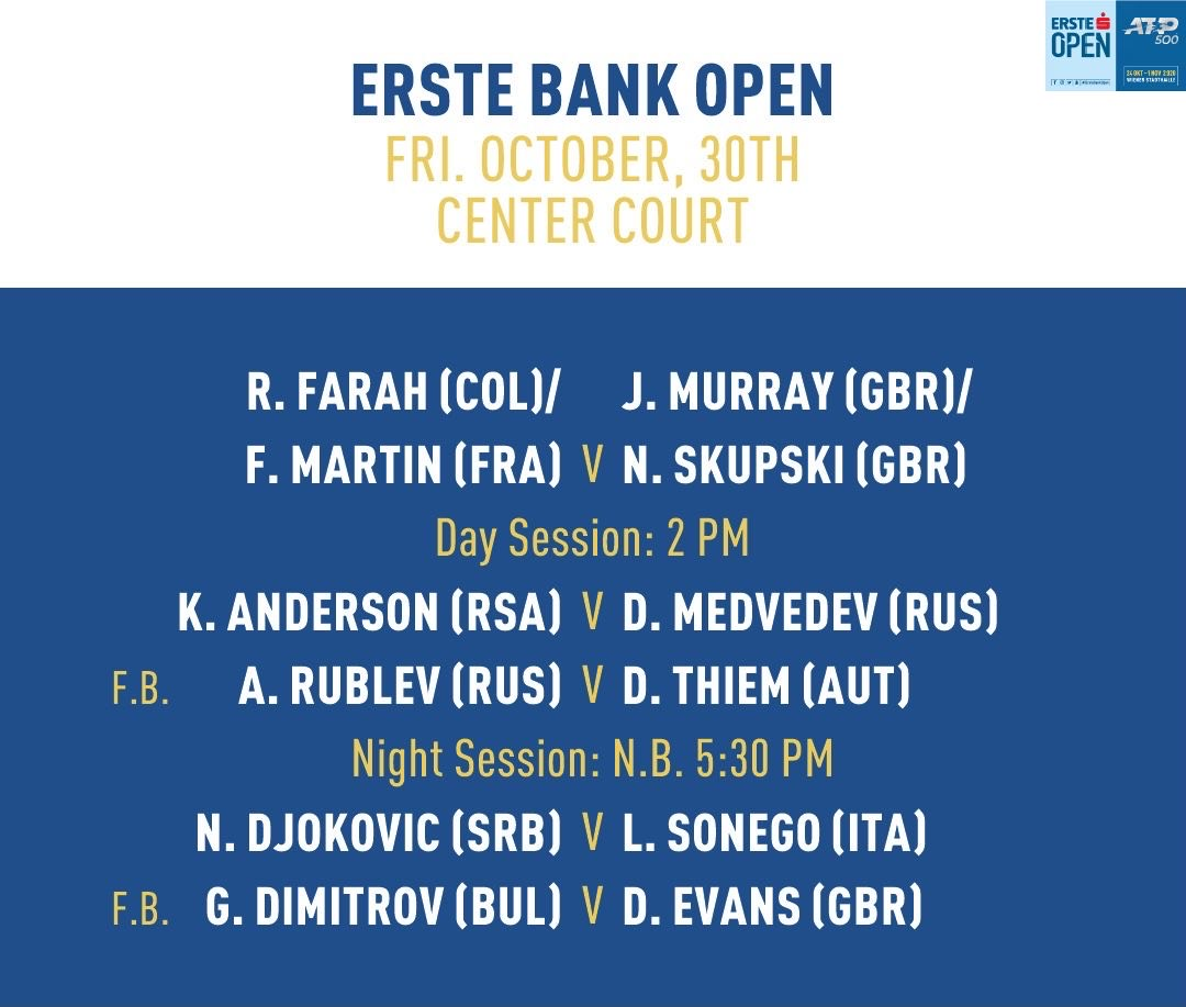 Today's matches on Center Court #ErsteBankOpen https://t.co/CqO9GbYCyX