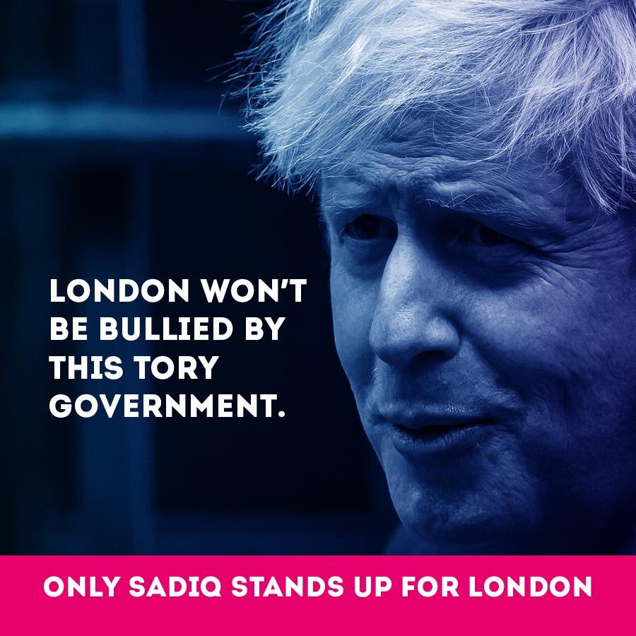 The Tories are punishing London by threatening to raise rail fares and expand the C-charge.  TfL can only be protected with @sadiqkhan as @MayorofLondon, let's keep it that way. #standingupforlondon https://t.co/aLwzWkNEoW
