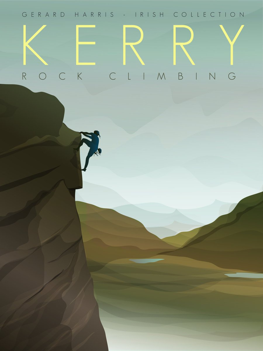 Working on a series of activity illustrations, starting with Rock Climbing www.harrisartanddesignstudio #irishposters #postersofireland #postersofkerry #rockclimbers #irishmountains #minimilist #kerry #rockclimbing #mountainclimbing  #kerrytouristboard #discoverireland https://t.co/0zfno3iEDQ