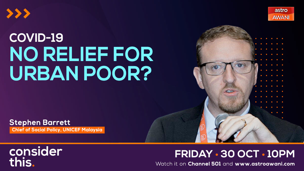 We continue our conversation with @myUNICEF on Covid-19 lockdown's impact on urban poor families. Tonight on #ConsiderThis @SharaadKuttan & I speak to Social Policy Chief, Stephen Barrett @sp_innovations1 on how to ensure the urban poor are cared for while public health ensured.
