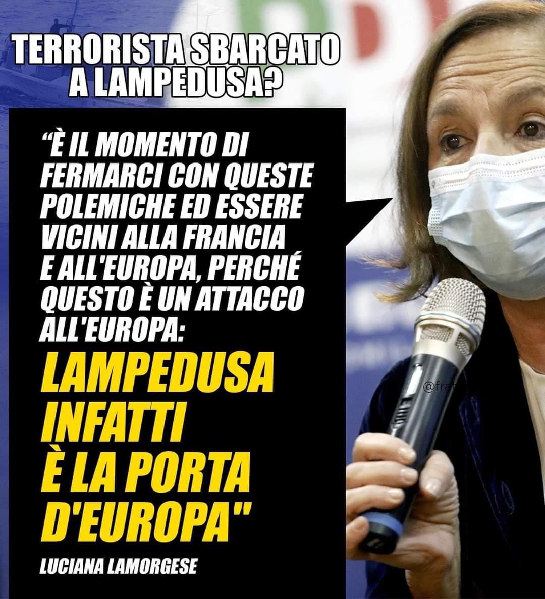 Il Ministro Lamorgese ha detto che il terrorista di Nizza è entrato da Lampedusa perché Lampedusa è la porta d'Europa. Il problema è che quella porta andrebbe chiusa e sorvegliata, non spalancata come fa la sinistra al governo, proprio perché è la porta d'Italia e d'Europa. https://t.co/qoOC4XTJ3K