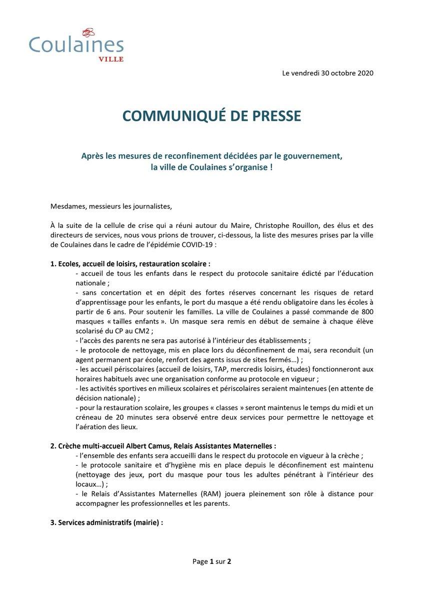 Après la #celluledecrise qui a réuni autour @ch_rouillon, des élus et des directeurs de services, voici la liste des mesures prises par @Coulaines autour de l'épidémie #COVID19   @OuestFrance72 @lemainelibre @viaLMtvSarthe @bleumaine @VR_LeMans @F3PaysdelaLoire @sarthemagfr https://t.co/rNC9v5QPIH