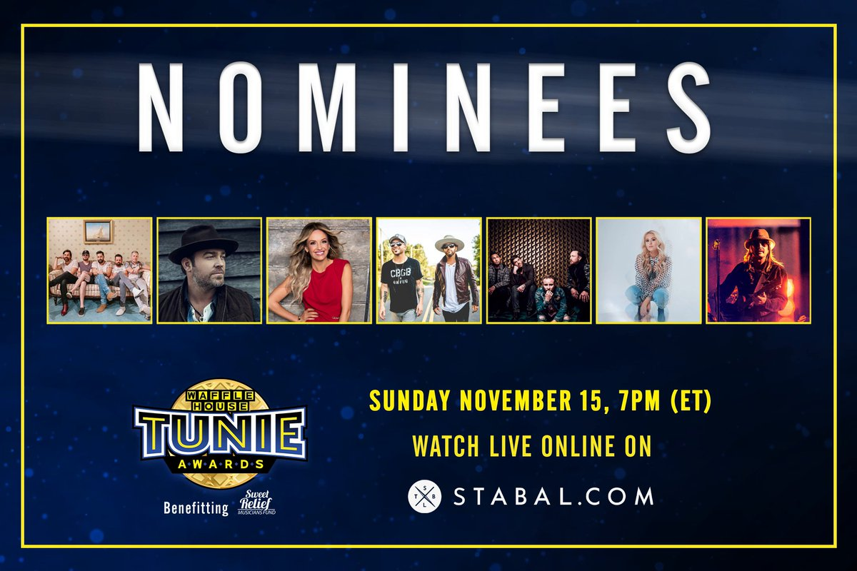 🏆 The next round of Tunie Award Nominations are in! 📺 Tune in for performances by @OldDominion @LeeBrice @CarlyPearce @Locashmusic @Shinedown with an appearance by @KidRock and introducing @itsIveyAsher Its all happening in support of @SweetRelief: spr.ly/6012GAA9k