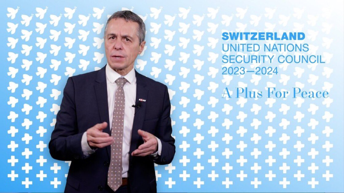 """🇨🇭🇺🇳 Foreign Minister @ignaziocassis:""""Switzerland has been a #mediator & bridge-builder since the 19th century"""". ➡️ Currently🇨🇭acts as #protectingpower for 7 States ➡️ In the last 4 years,🇨🇭assisted 17 #peace processes all over the world #APlusforPeace  👉https://t.co/iVkSYiIe9m https://t.co/h3uvnsl6iE"""