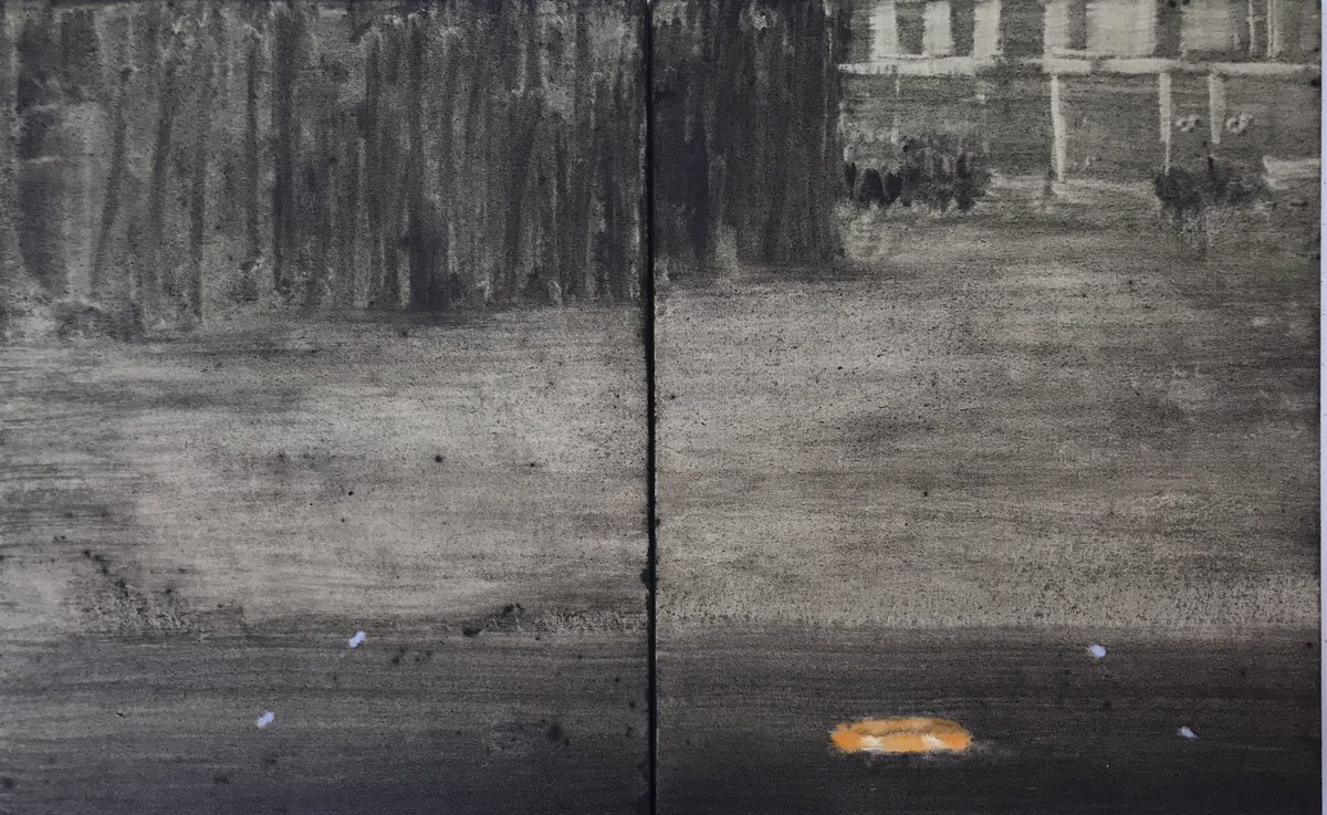 """""""Lake House 3""""- 2020, diptych , 35cmx70cm, oil on canvas over board. #michelleconway #michellejconway #contemporarypainters #contemporaryartist #londonart https://t.co/8t1X5Cqr2n"""