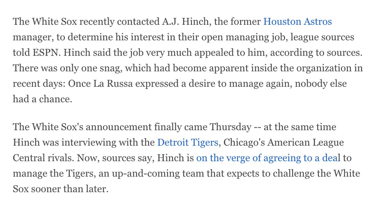 Oh, and now that the A.J. Hinch news is official -- he has signed his deal to manage the Tigers -- this part has to be especially vexing to those who thought he would be the perfect manager for Chicago. The two talked. And the Sox never interviewed him: https://t.co/izB01jfW94 https://t.co/ZIYAglDuix