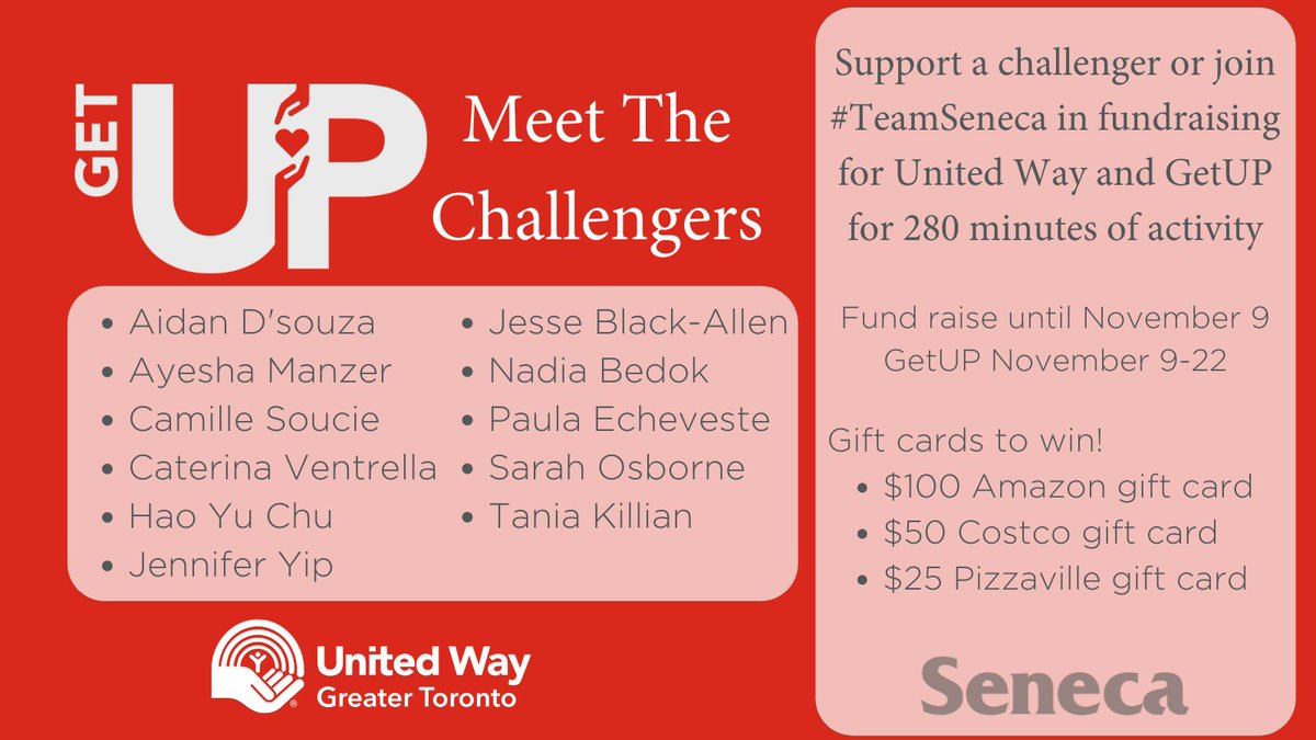 Meet #TeamSeneca. These are the @SenecaCollege challengers who are ready to #GetUP for @UWGreaterTO.  Visit our team page https://t.co/s0Z4zx2Mk8 to support a challenger or join in as well! The top three fundraisers will win big!  #SenecaProudAtHome #SenecaGives https://t.co/8kgw434Bg5