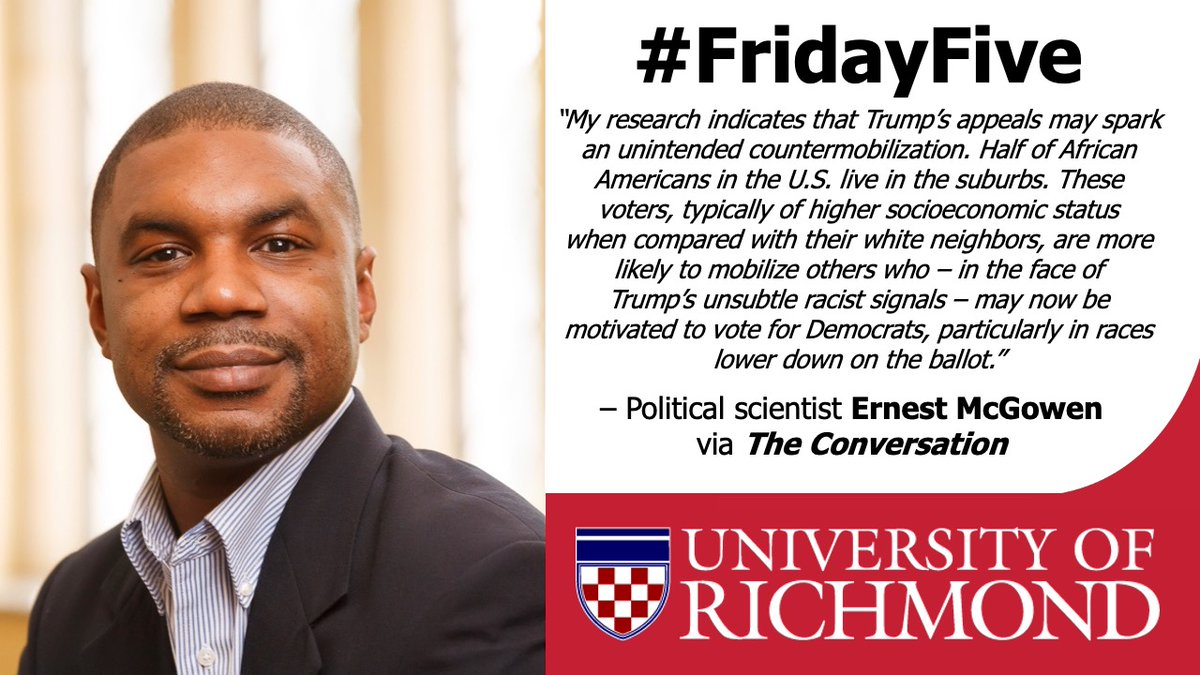 Next on today's #FridayFive faculty highlight is UR poli sci professor @ErnestMcGowen. Ernest teamed up w/ @ConversationUS Senior Editor @Naomi_Schalit to publish a piece that highlights his expertise on political activity in the suburbs. Read it here: https://t.co/VkvM1hRs2r https://t.co/fCoIpaQxJk