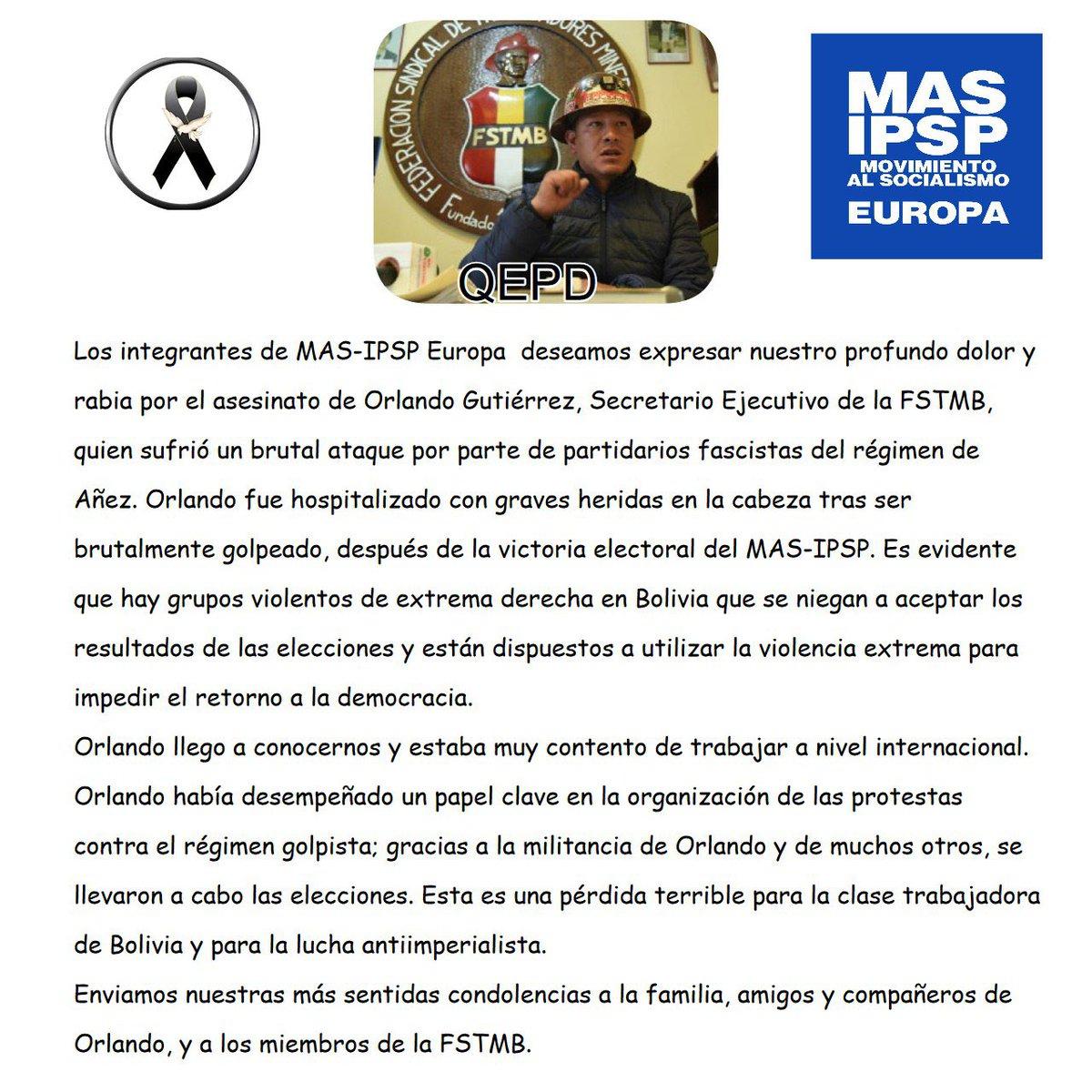 Los bolivianos en #Europa exigimos investigación y justicia! El fallecimiento de #OrlandoGutierrez es una pérdida enorme para la democracia en #Bolivian. Nuestro sentido pésame para la familia y amistades! @LuchoXBolivia @LaramaDavid @evoespueblo @MAS_IPSP_MURCIA @MallorcaMas https://t.co/lLB8DIGJZK