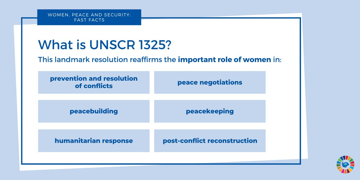 This year marks the 20th Anniversary of UN Security Council Resolution 1325 on Advancing #Women, #Peace & #Security 🇺🇳  @antonioguterres has called for: a radical shift in women's meaningful participation in peacemaking, peacekeeping & peacebuilding efforts.  #WPSbeyond2020 https://t.co/Pk61jpSlHj