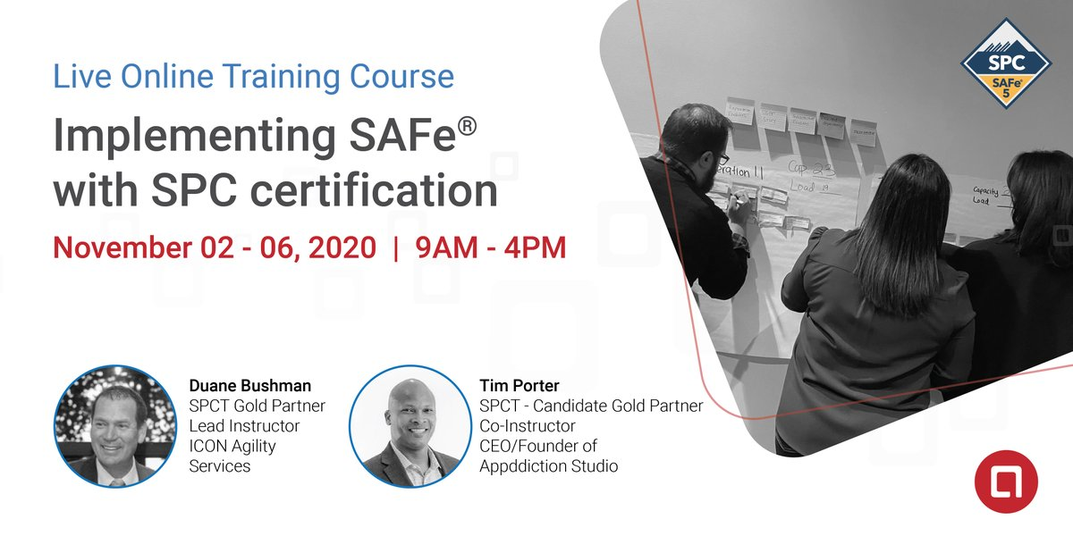3 DAYS LEFT! LIVE Online Implementing SAFe® with #SPC Training Nov 02-06, 2020 Register Now! https://t.co/afiZSrMqWM  Continue your learning journey! Launch and coach #Agile Release Trains and become enabled to train other roles in a #SAFe #enterprise.   @iconagility @ScaledAgile https://t.co/MlJKoJf48P