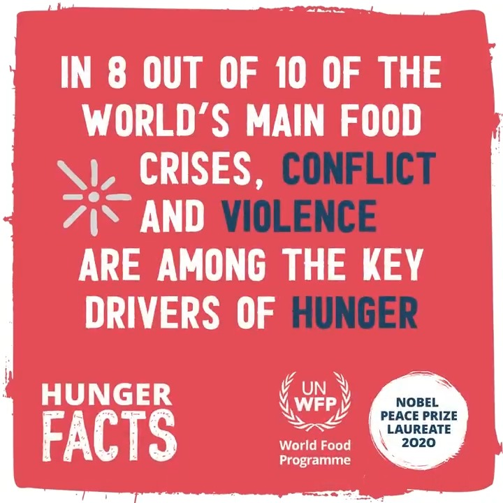 Over 60% of the world's hungry live in countries affected by conflict. 🔁 Join our plea for peace to end hunger! 🕊️
