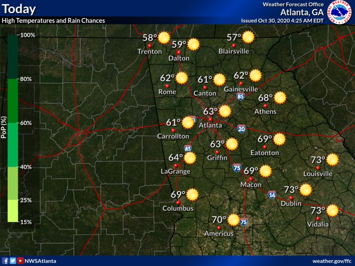 Going to be nice day here in Georgia and a cooler night for your Halloween Eve. #gawx #GaWxCond https://t.co/B9rhu2cDvC