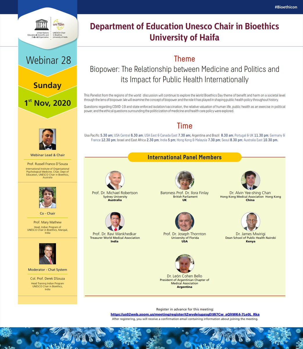 Welcome! You are invited to join a meeting: UNESCO CHAIR 28th WEBINAR  After registering, you will receive a confirmation email about joining the meeting. https://t.co/E0xAdviwx9  #UNESCO #bioethics #policies #medicines #publichealth #COVID19 #lockdown #Qurantine #Webinar https://t.co/oXOpWShv2J