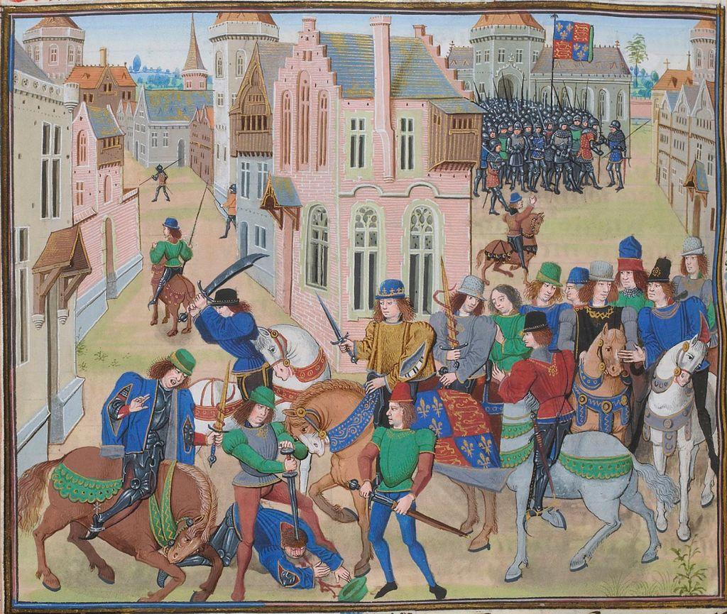 Death of Wat Tyler in #London, leader of the #English #PeasantsRevolt, 1381. #RichardII #JohnBall #WilliamMorris #Froissart