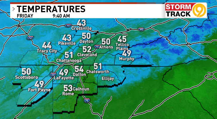 9:45 AM ET - In the 40s and 50s this mid-morning... roughly 20-degrees cooler than this time yesterday. #CHAwx #TNwx #GAwx https://t.co/fN12BFBSvs