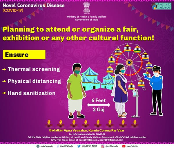 #IndiaFightsCorona:   📍Planning to attend or organize a fair, exhibition or any other cultural function!  👉Ensure to have   ✅Thermal screening ✅Physical distancing  ✅Hand sanitization   #Unite2FightCorona #StaySafe https://t.co/JQHDJkblwa