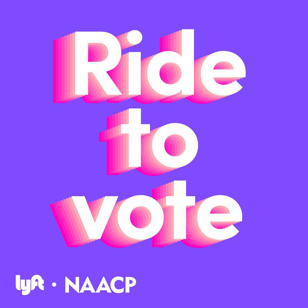 Exciting News! As part of our continued commitment to #VoteOurLivesDependOnIt, the NAACP is excited to be working with Lyft to offer free, safe rides to polling stations and registered drop box locations across the U.S from now through Election Day.   Lyft Code: NAACPVOTE2020