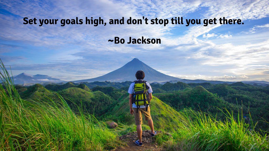 Set your goals high, and don't stop till you get there. ~Bo Jackson  #motivation #inspiration #quote #success #entrepreneur #leadership #quoteoftheday #mountains #mountainclimbing #sky #bojackson #bojacksonquotes https://t.co/ItWHgq1knN