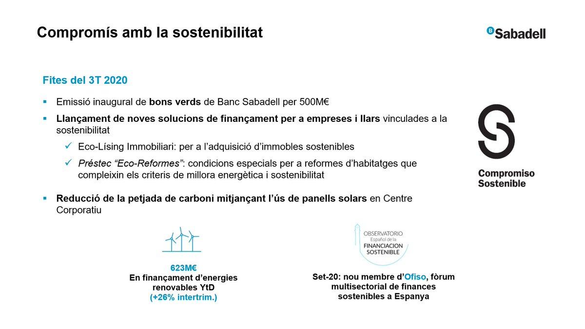 #ResultatsSabadell #SabadellCompromísSostenible Les fites del trimestre: +Emissió dels #BonsVerds +Noves solucions de finançament vinculades a la #Sostenibilitat +Reducció de la #PetjadaDeCarboni mitjançant l'ús de panells solars +Finançament d'#EnergiesRenovables https://t.co/YQk03vEb4m