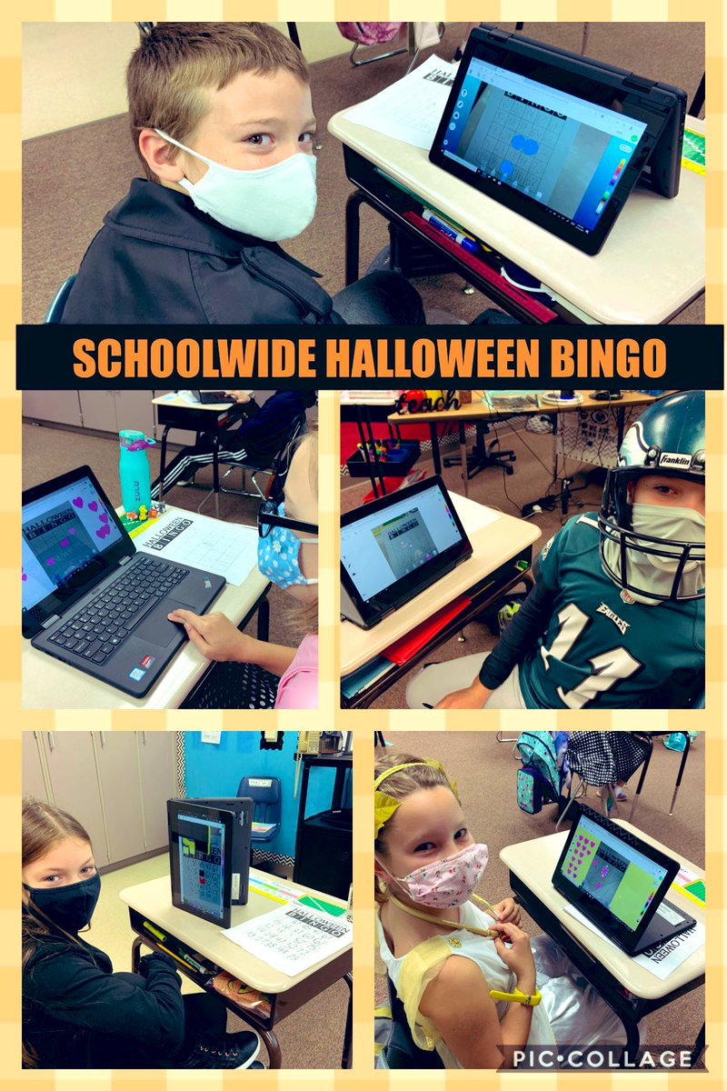 🎃SCHOOL-WIDE HALLOWEEN BINGO🎃 We uploaded our BINGO boards to @Seesaw so we could use the drawing tools/shapes as counters!! Ss at home are on @MicrosoftTeams playing along as I record the numbers they are calling on my screen! #cbgroveland #Halloween2020 👻🕷🕸 https://t.co/yaGgvEngKg