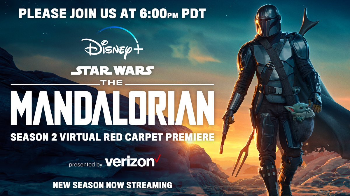 TONIGHT: Who's streaming the first episode of #TheMandalorian Season 2? 🙋♀️🙋🏽♂️🙋🏿♂️🙋🏽♀️   Gear up for the quest with #DisneyPlusOnVerizon and comment with what your favorite watch party snack is! 🍿 https://t.co/LnkD5hq8Hj