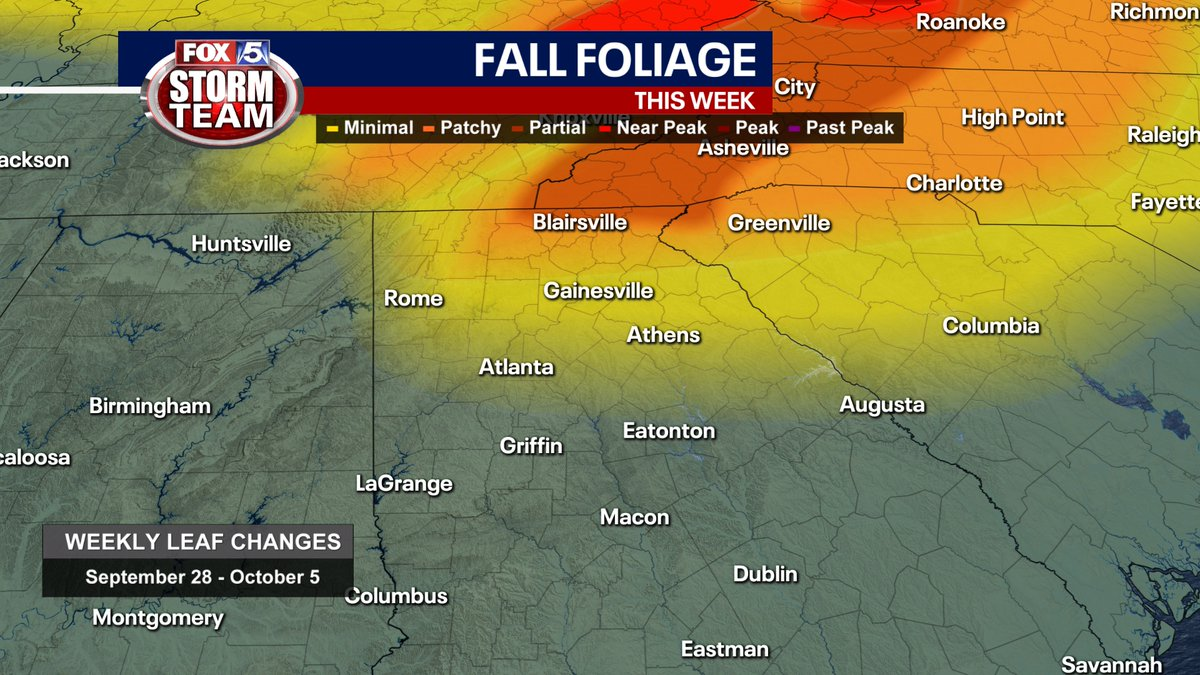 The fall-like temperatures have returned to north #gawx and it's going to be a sunny weekend to enjoy the fall foliage....BUT with all the wind.....the trees aren't as full as last weekend @fox5atlanta https://t.co/MNvb23v1kd