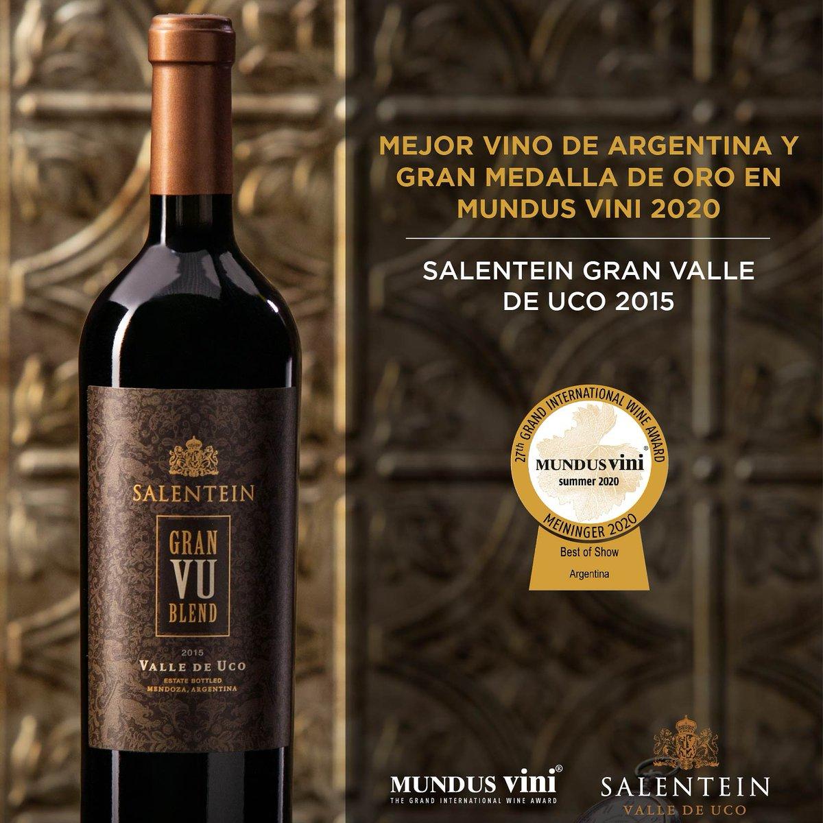 """Salentein Gran Valle de Uco """"VU"""" Blend 2015, Gran Medalla de Oro y Mejor Vino de Argentina- en la cata de verano del certamen alemán Mundus Vini: el vino ícono de la bodega es un corte de Malbec y Cabernet Sauvignon del Valle de Uco #vino #vinoargentino🇦🇷 #wine #vin #wein #vinho https://t.co/BEc98QHoE9"""