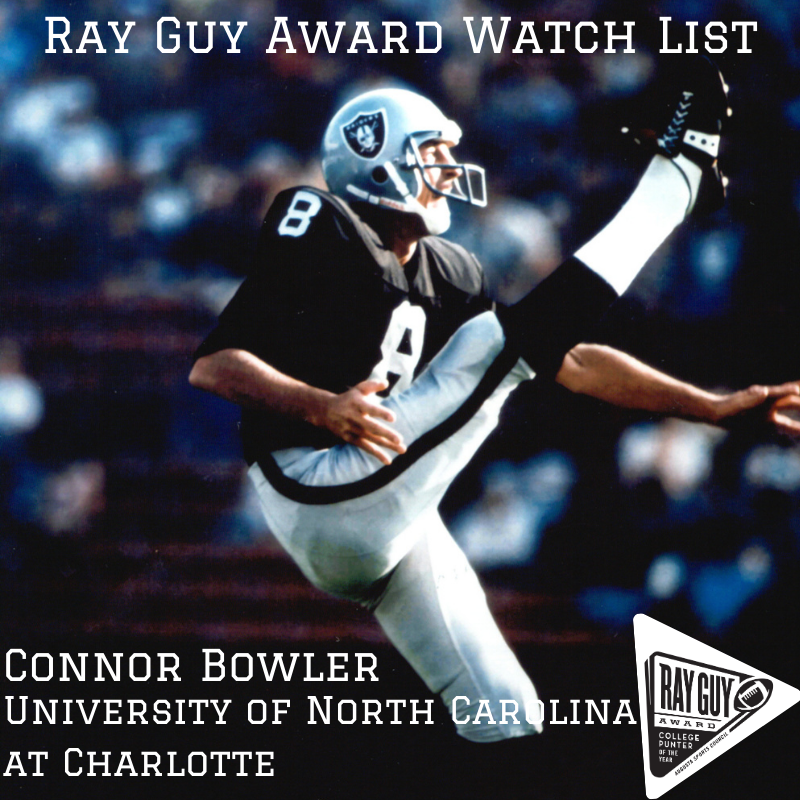Congrats to Connor Bowler @Bowler_Football of the University of North Carolina at Charlotte @CharlotteFTBL ! He is officially nominated to our 2020 watch list! __ #RayGuyAward