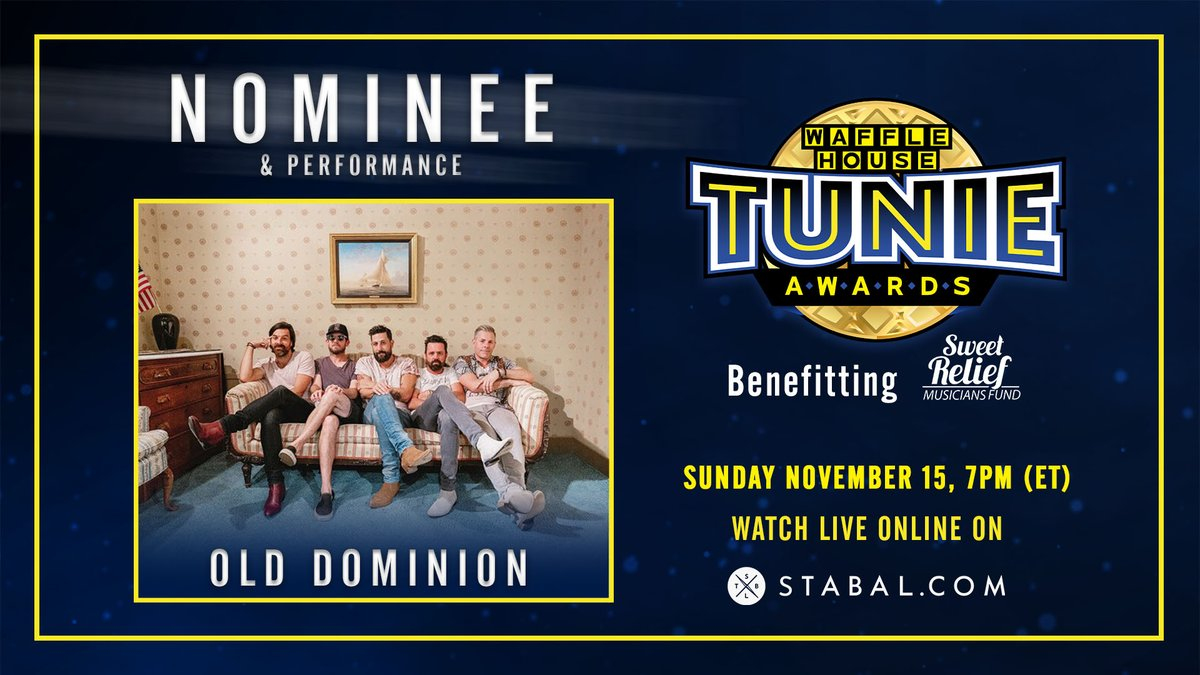 Thanks to @WaffleHouse for the Tunie Award nomination. Cant wait to perform Nov 15 to benefit the @SweetRelief Musicians Fund. Tix available now! bit.ly/od-tunieawards