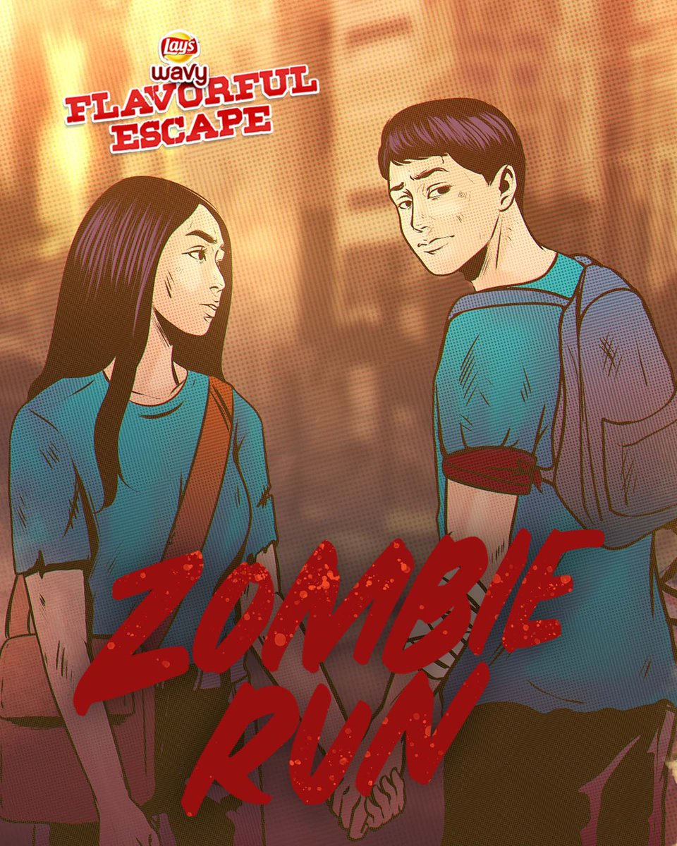 #LaysWavyFlavorfulEscape presents: Zombie Run. Help Maymay and Edward get their Lay's Wavy before the zombies arrive!  Complete the mission for a chance to get P100 off, with a min. spend of P300 on Frito Lay products at Lazada!  Enter here: