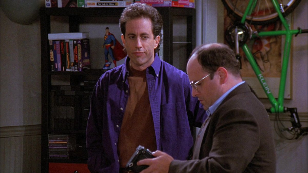 If I had to pick a 5sec moment from Seinfeld to represent the entire series - easily would be when Jerry/George rewind the tape hidden in George's briefcase  They sit in silence for tape to rewind in real-time. Completely unnecessary yet so deliberate @JerrySeinfeld @PeterMehlman