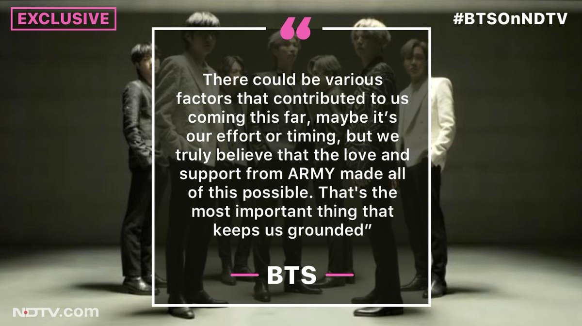 #BTSOnNDTV | Exclusive - @BTS_twt tell @NDTV their fans are the secret of their success #WatchBTSOnNDTV @bts_bighit @BTSW_official