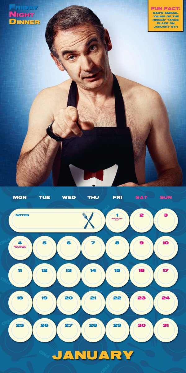 Great News! The Official #FridayNightDinner 2021 Calendar is now back in stock and available from the official store. Remember, Dad's annual 'oiling of the hinges' takes place on 8 January!