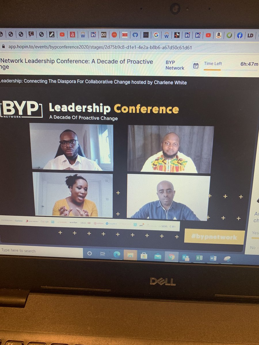Great Live Speakers, Panel Discussions at @BYPNetworkApp Virtual Leadership Conference #adecadeofchange @KikeOniwinde #BYPnetwork #leadership #google #facebook #accenture #sonymusic #PwC #blackexcellence https://t.co/8K2YI5FFqx