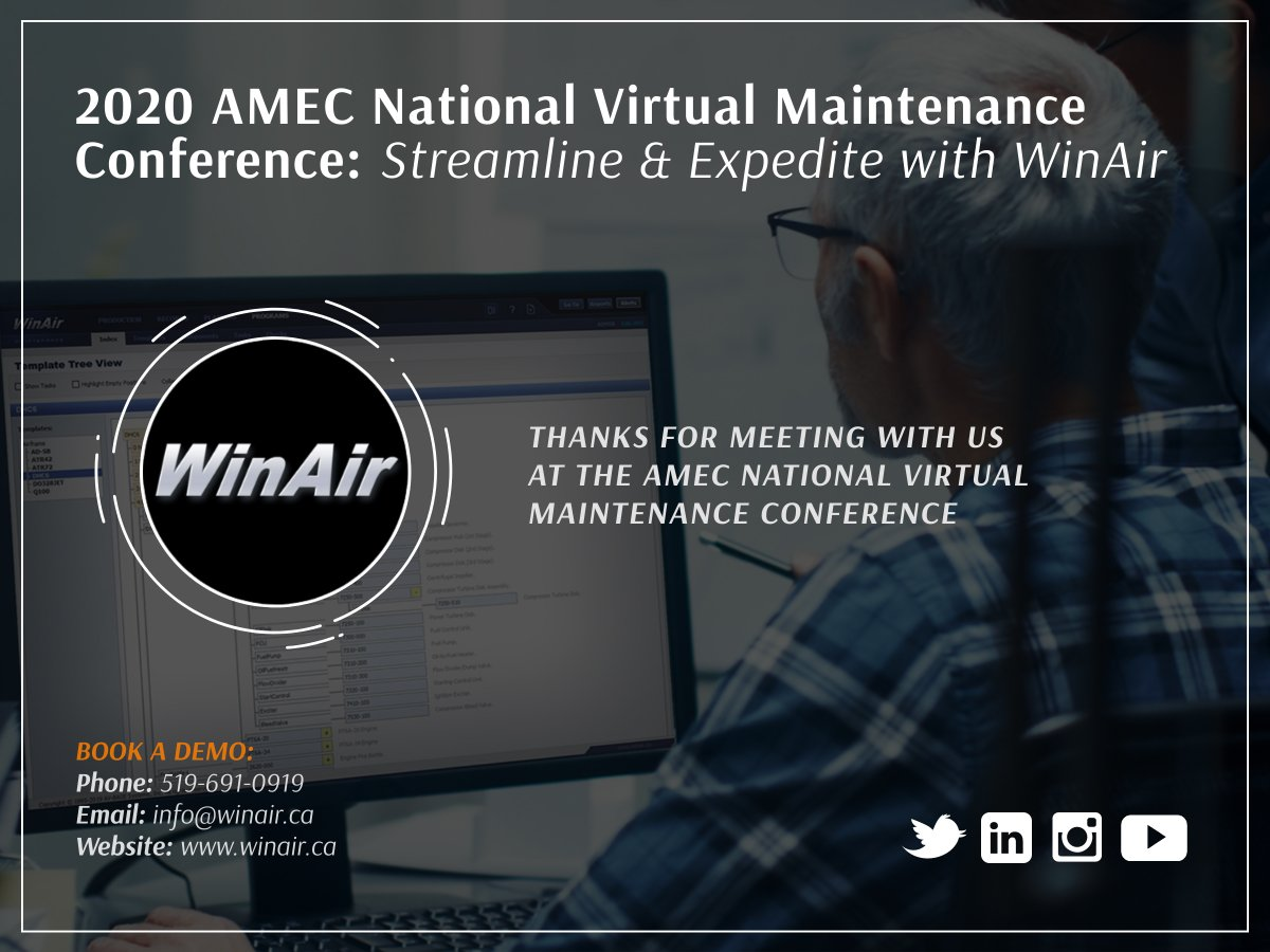 Thank you to everyone who met with us last week at the 2020 #AMEC National Virtual Maintenance Conference! Want to #LearnMore about how you can streamline & expedite maintenance processes with #WinAir? Book a meeting with us today: https://t.co/1to7faNwz0 #AvGeek #WinAirVersion7 https://t.co/weB6So6bYP