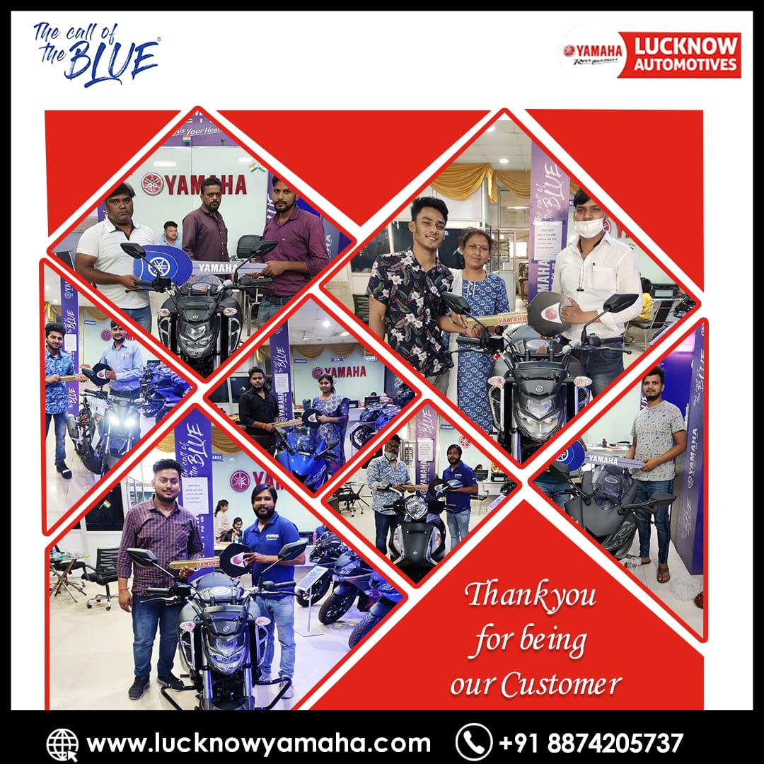Thank you for your purchase and for being valued customers of @India_Yamaha.  We hope you are happy with the purchase and your experience with us was awesome.  Call Us - +91 8874205737 #Lucknow #lucknowbikers #FridayMotivation #yamaha