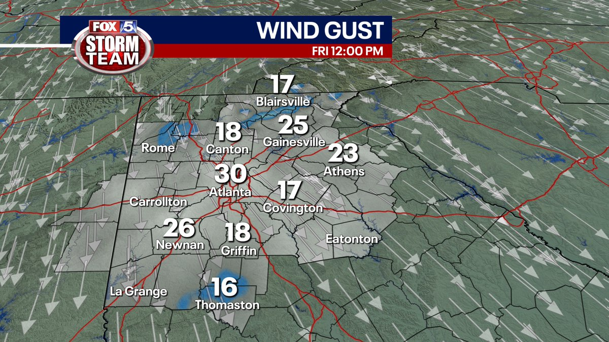 Wind gusts still on the strong side across north #gawx We will continue to experience breezy conditions throughout the weekend @fox5atlanta https://t.co/1RkMv3mRSC